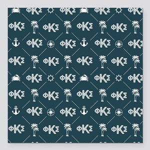 "Phi Kappa Sigma Blue Pat Square Car Magnet 3"" x 3"""