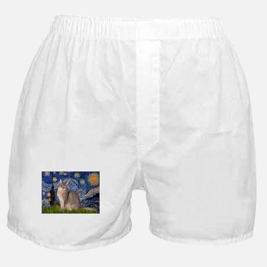 Starry / Blue Abbysinian cat Boxer Shorts