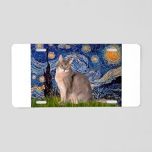 Starry / Blue Abbysinian cat Aluminum License Plat