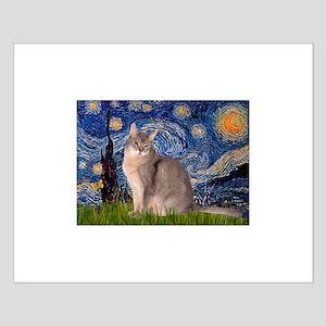 Starry / Blue Abbysinian cat Small Poster