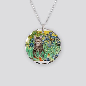 Irises / Tiger Cat Necklace Circle Charm