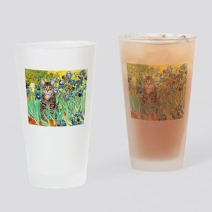 Irises / Tiger Cat Drinking Glass