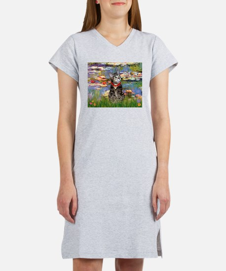 Tabby Tiger Cat in Lilies Women's Nightshirt