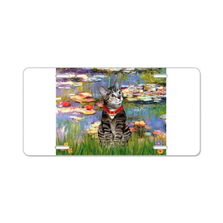 Tabby Tiger Cat in Lilies Aluminum License Plate