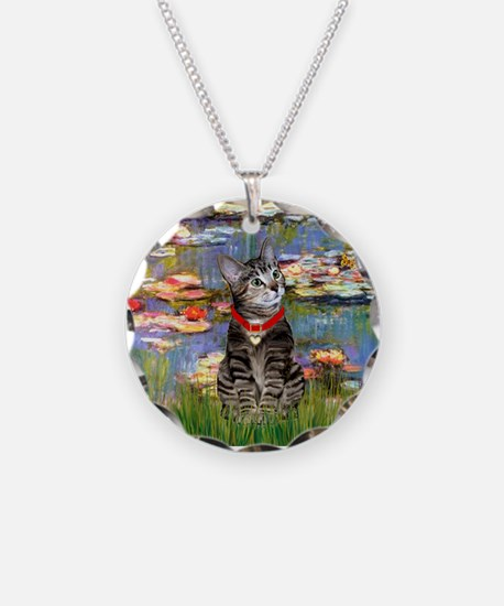 Tabby Tiger Cat in Lilies Necklace