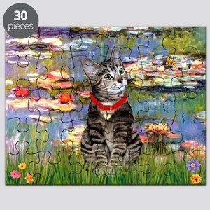 Tabby Tiger Cat in Lilies Puzzle