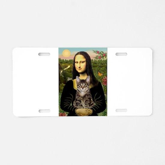 Mona's Tiger Cat Aluminum License Plate