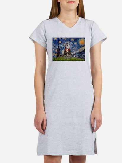 Starry Night / Tiger Cat Women's Nightshirt
