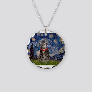 Starry Night / Tiger Cat Necklace Circle Charm
