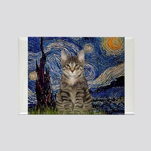 Starry Night & Tiger Cat Rectangle Magnet