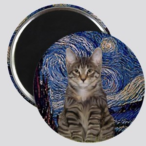 Starry Night & Tiger Cat Magnet