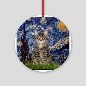 Starry Night & Tiger Cat Ornament (Round)