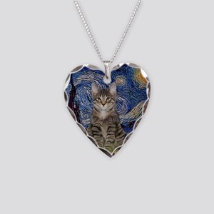 Starry Night & Tiger Cat Necklace Heart Charm