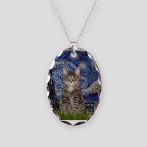 Starry Night & Tiger Cat Necklace Oval Charm