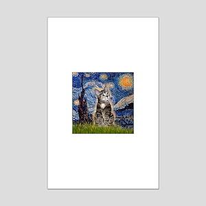 Starry / Tiger Cat Mini Poster Print