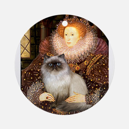 Queen & Himalayan cat Ornament (Round)