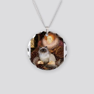 Queen & Himalayan cat Necklace Circle Charm