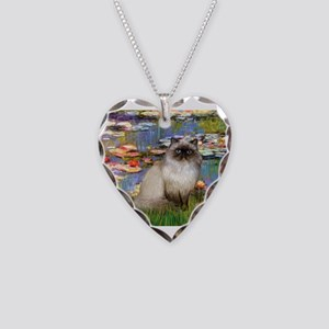 Lilies & Himalayan cat Necklace Heart Charm