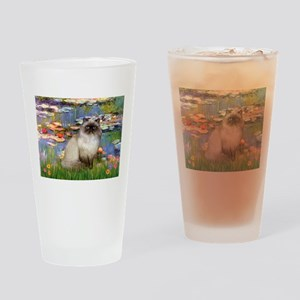 Lilies & Himalayan cat Drinking Glass