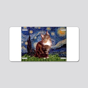 Starry Maine Coon Aluminum License Plate
