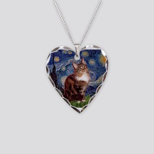 Starry Maine Coon Necklace Heart Charm