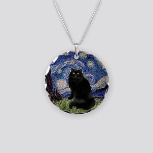 Starry Night /Persian (bl) Necklace Circle Charm