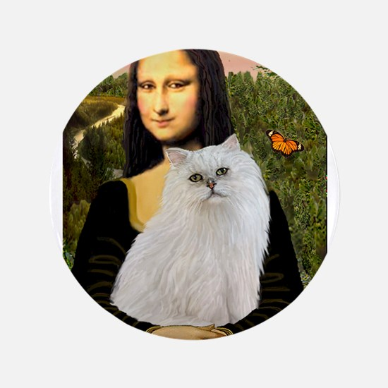 "Mona's White Persian 3.5"" Button"