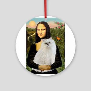 Mona's White Persian Ornament (Round)