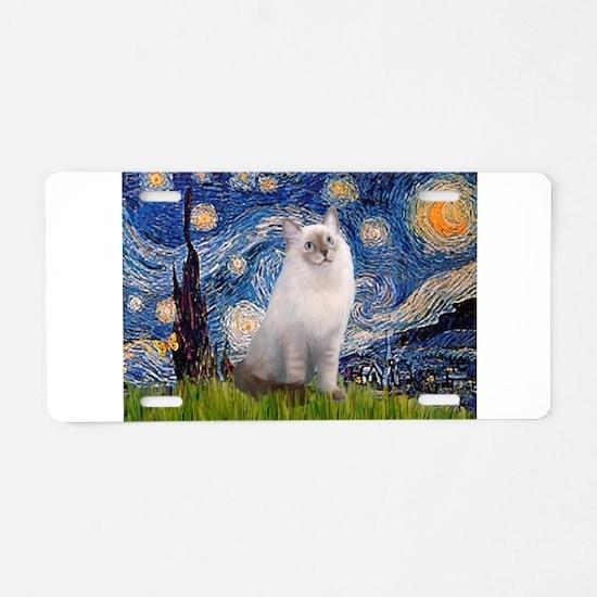 Starry Night Ragdoll Aluminum License Plate