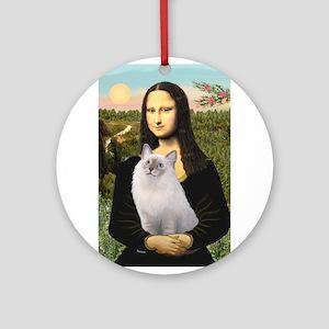 Mona & her Ragdoll Ornament (Round)