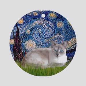 Starry / Lilac Pt. Siamese Ornament (Round)