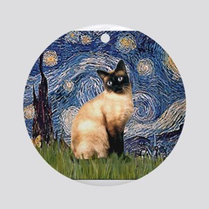 Starry Night Siamese Ornament (Round)