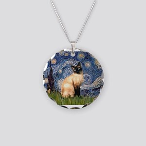 Starry Night Siamese Necklace Circle Charm