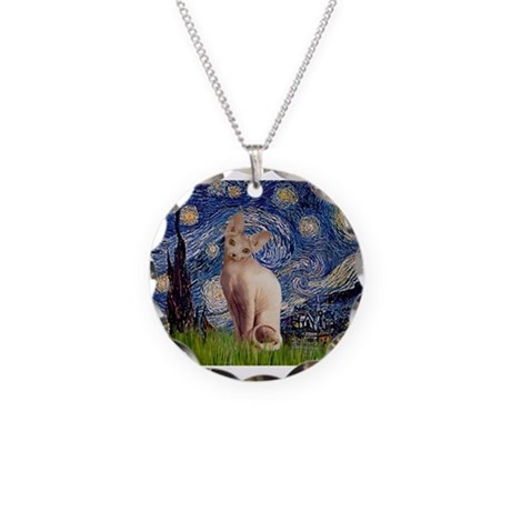 Starry Night / Sphynx Necklace Circle Charm