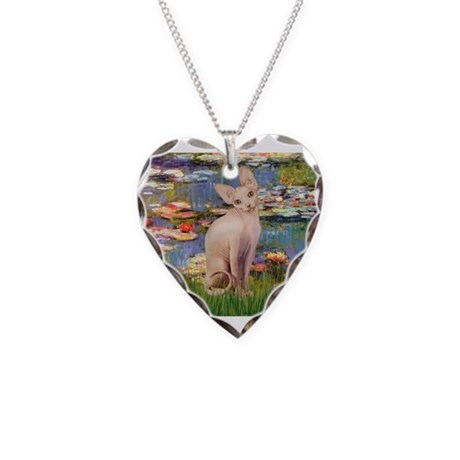 Sphynx cat and lilies. Necklace Heart Charm