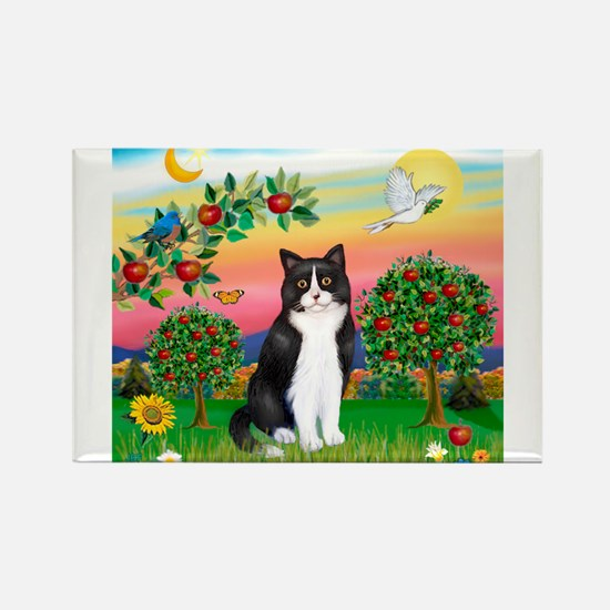 Bright Country / (B&W) Cat Rectangle Magnet