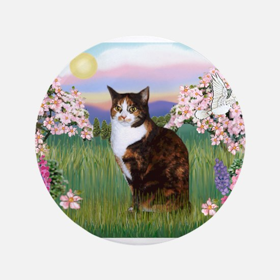 "Blossoms / Calico cat 3.5"" Button"