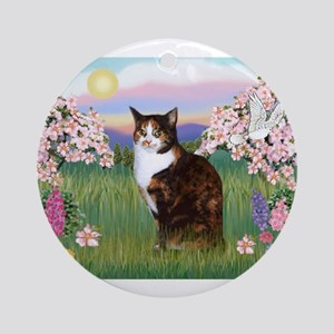Blossoms / Calico cat Ornament (Round)