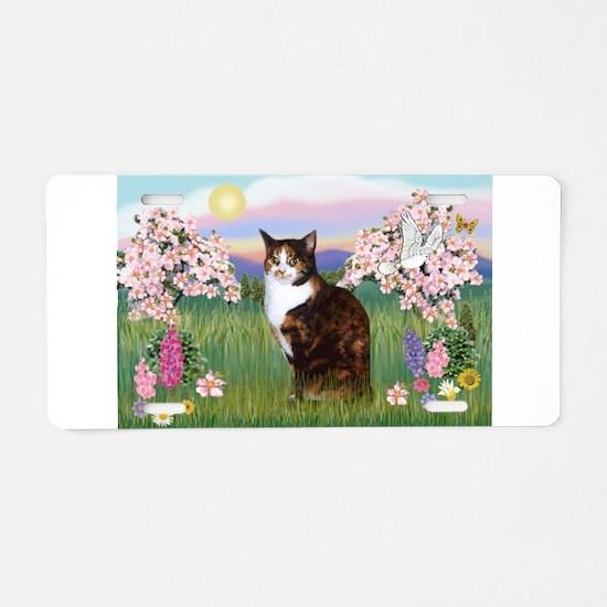 Blossoms / Calico cat Aluminum License Plate