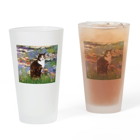 Lilies & Calico Cat Drinking Glass