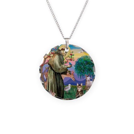 St Francis / Tab Tiger Cat Necklace Circle Charm