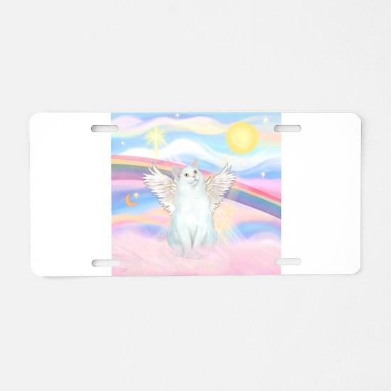 Clouds / (White) Cat Aluminum License Plate