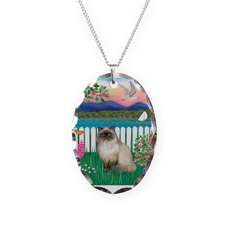 Garden Shore / Himalayan Cat Necklace Oval Charm