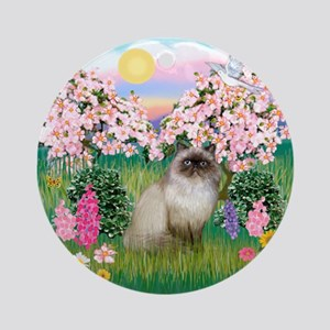 Blossoms & Himalayan cat Ornament (Round)