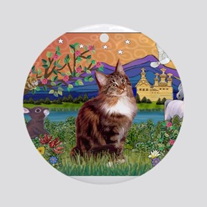 Maine Coon in Fantasy Land Ornament (Round)