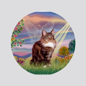 "Cloud Angel & Maine Coon 3.5"" Button"