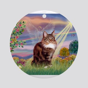 Cloud Angel & Maine Coon Ornament (Round)