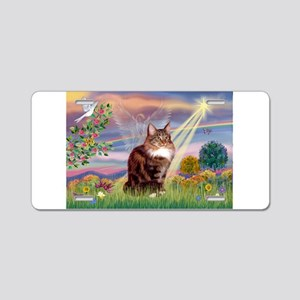 Cloud Angel & Maine Coon Aluminum License Plate