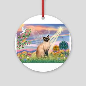 Cloud Angel & Siamese Ornament (Round)