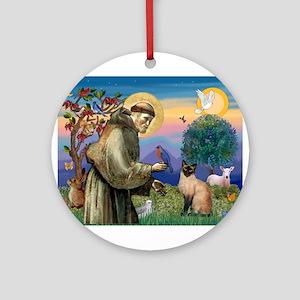 St Francis / Siamese Ornament (Round)